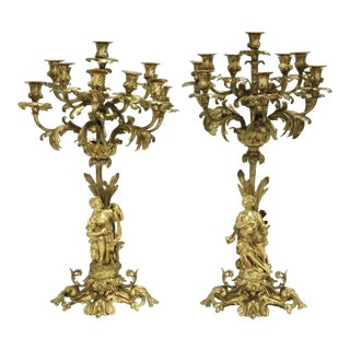 Superb Pair of French Bronze Dore Candelabra