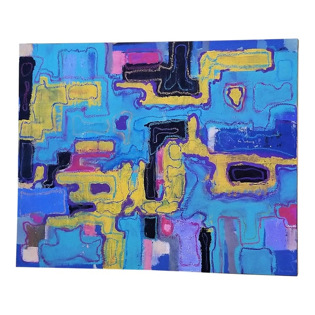 R. Schnider Electric Abstract Microchip Painting For Sale