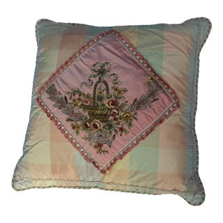 19th Century Antique French Needlepoint Pillow For Sale