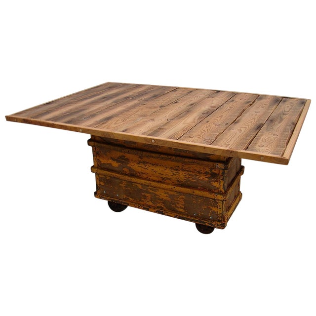 Reclaimed Textile Mill Rolling Cart Harvest Table - Image 1 of 6