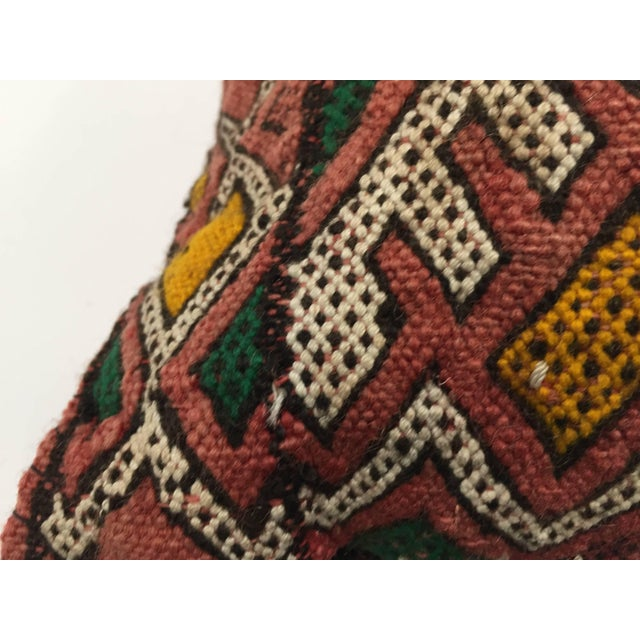 Moroccan Berber Handwoven Tribal Vintage Pillow For Sale - Image 4 of 9