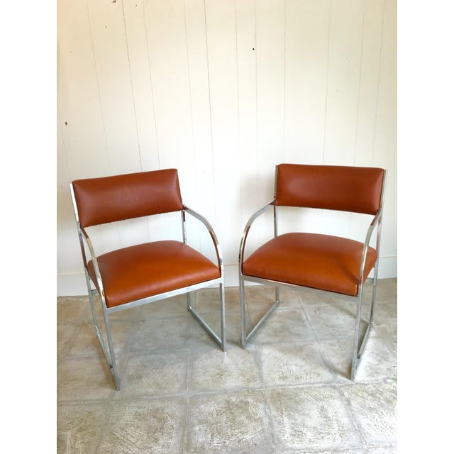 Chrome Flat-Bar Chairs in Leather Hide - A Pair - Image 2 of 5