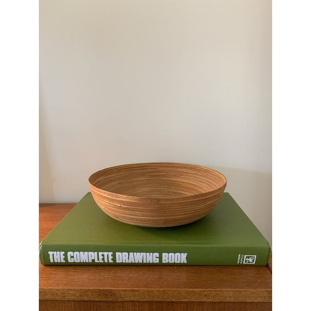 Vintage Wooden Bamboo Bowl For Sale - Image 4 of 4