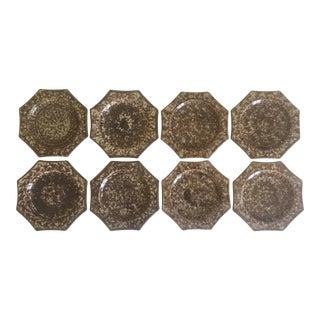 Vintage Whieldon 18th C. Style Mma Creamware Tortoise Octagonal Spatterware Plates - 8pc Set For Sale