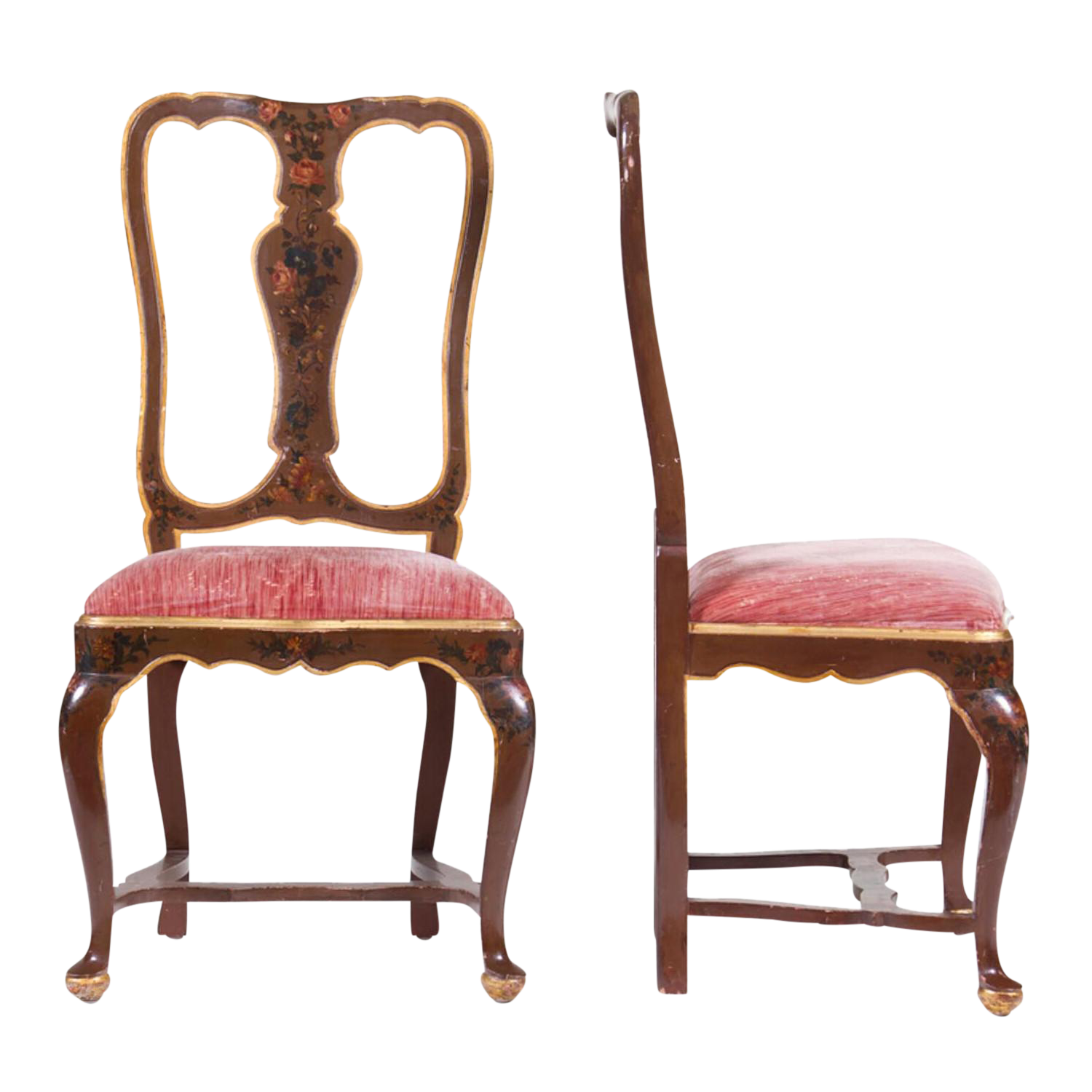 Venetian Painted Chairs   A Pair