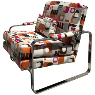 1970s Modern Chrome Club Chair For Sale