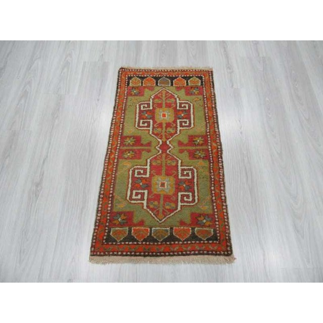 Islamic Vintage Hand Knotted Mini Oushak Rug - 1′10″ × 3′7″ For Sale - Image 3 of 4