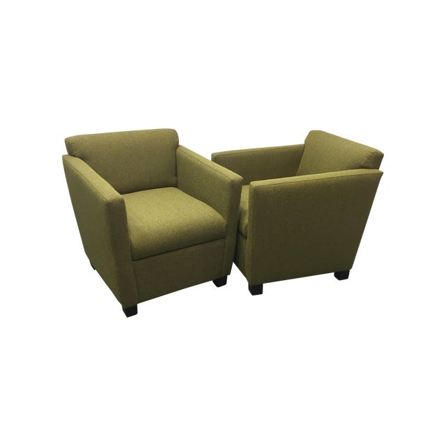 Green Club Chairs - Pair - Image 1 of 7