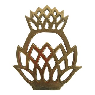 1970s Vintage Virginia Metal Crafters Brass Pineapple Trivet For Sale