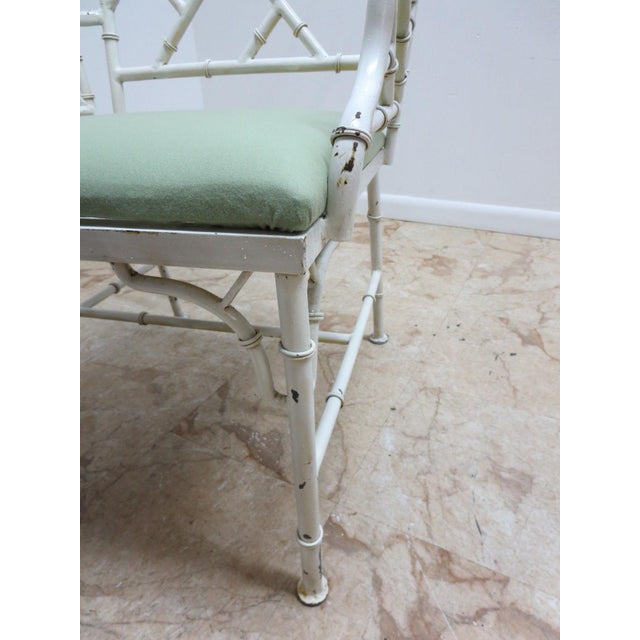 Vintage Metal Faux Bamboo Arm Chair For Sale - Image 9 of 10