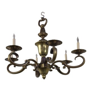French Bronze Six Armed Chandelier For Sale