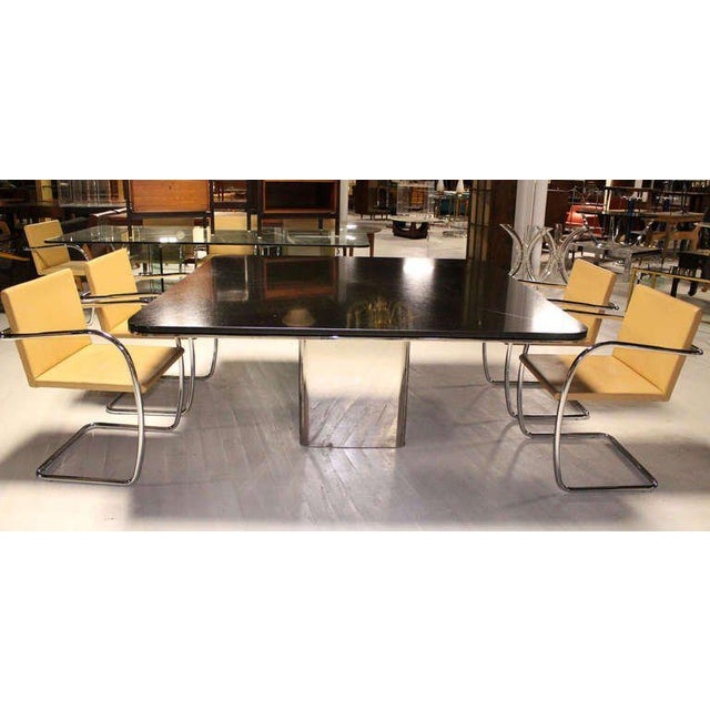 Brueton 1970s Mid-Century Modern Brueton Square Granite Top and Stainless Base Dining Table For Sale - Image 4 of 10