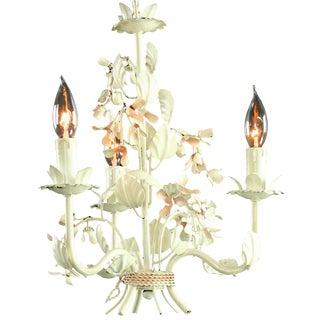 Vintage 3-Arm French Metal Floral Chandelier For Sale