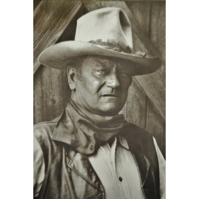 Americana Vintage John Wayne Print With Rustic Barn Wood And Barb Wire Frame For Sale