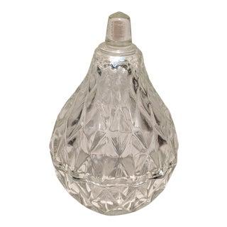 1960s Pear Shaped Glass Trinket Box Diamond Pattern Glass For Sale