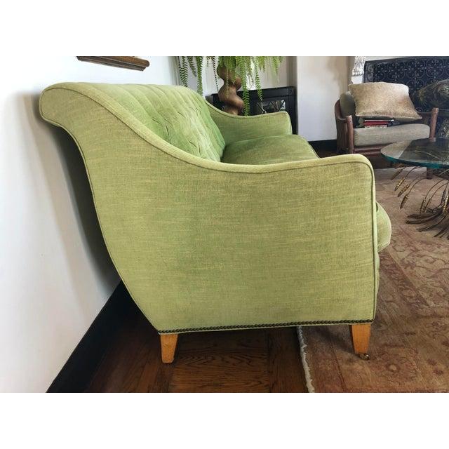 Hollywood Regency 1980s Vintage Tufted Sleigh Back Sofa For Sale - Image 3 of 8