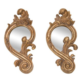 French Giltwood Carved Decorative Mirrors - a Pair For Sale