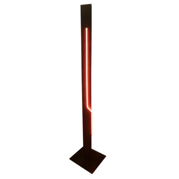 Rudi Stern Neon Standing Floor Lamp With red illuminating side tube and white illuminated top light aiming upwards on the...