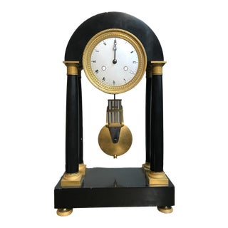 French Neoclassical Empire Black Marble Column Mantle Clock For Sale
