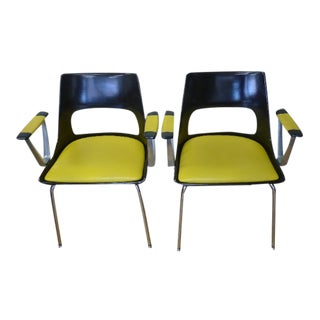 Krueger Metal With Yellow Cushioned Seat and Arms Dining and Conference Chairs - a Pair (Six Pairs Are Available) For Sale