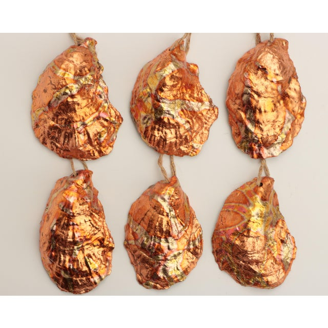 Flame Gilded Oyster Shell Christmas Ornaments - Set of 6 For Sale In Madison - Image 6 of 9