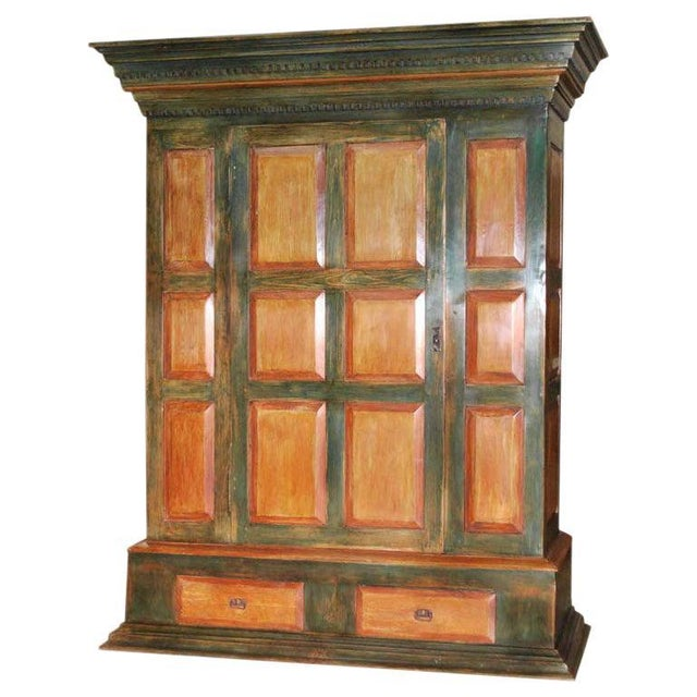 Large Green and Red Painted Armoire For Sale - Image 10 of 10