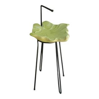 1950s Leaf Pottery Wrought Iron Base Snack Stand For Sale