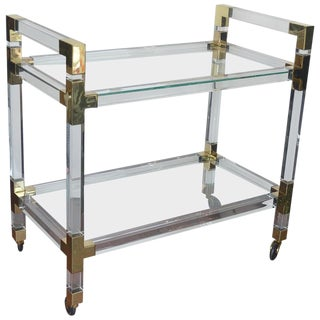 Metric Lucite and Brass Bar Cart For Sale
