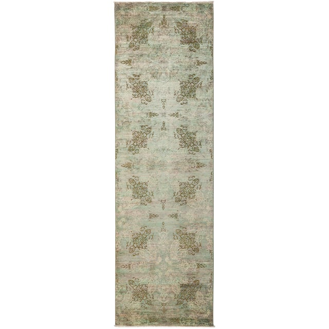 One-Of-A-Kind Contemporary Transitional Hand-Knotted Runner Rug, Mint, 2' 10 X 9' 10 For Sale
