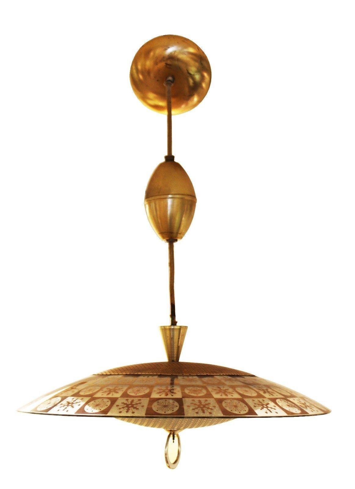 1960s Mid Century Modern Thomas Light Brassglass Atomic Pendant