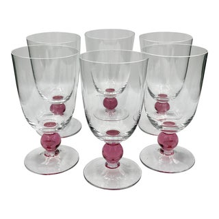Vintage Mid Century Crystal Murano Ball Stem Cocktail or Wine Glasses- Set of 6 For Sale