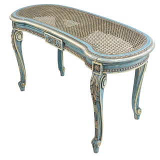 French Louis XVI Style Kidney Shape Vanity or Window Bench French Blue Accents Preview