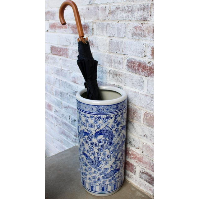 Vintage Blue and White Chinese Porcelain Umbrella Stand For Sale - Image 11 of 13