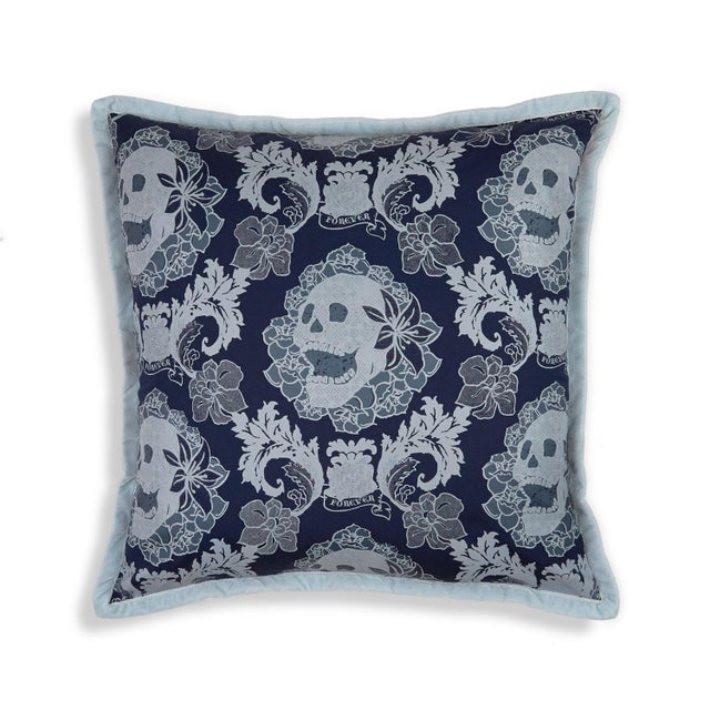 2010s Skulls Damask Pillow, Navy Blue For Sale - Image 5 of 5