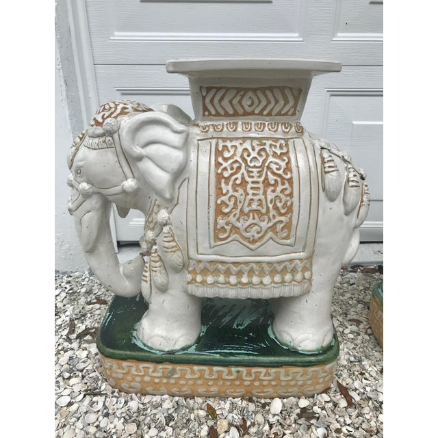 Vintage White Ceramic Elephant Garden Stools - A Pair For Sale - Image 5 of 11