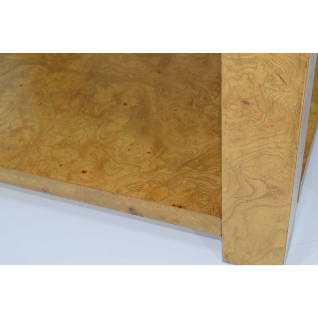 1970s Pair of Milo Baughman Burl Wood End Tables or Nightstands For Sale - Image 5 of 10