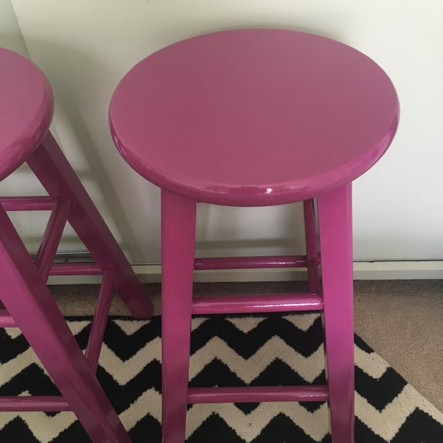 Glossy Mulberry Stools - Pair - Image 6 of 6