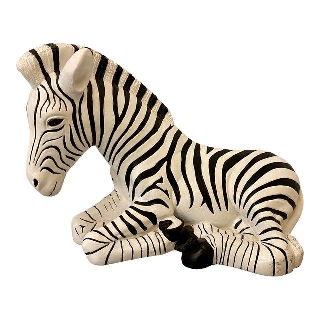 1960s Black & White Zebra Floor Sculpture For Sale