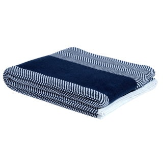 Eco Poly Herringbone Stripe Navy & White Throw