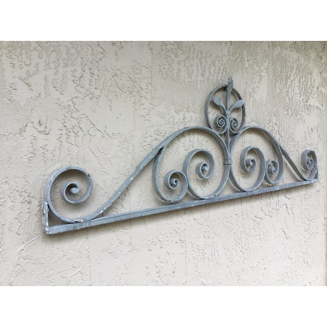 Gray 1950s Asian Wrought Iron Wall Hanging For Sale - Image 8 of 13