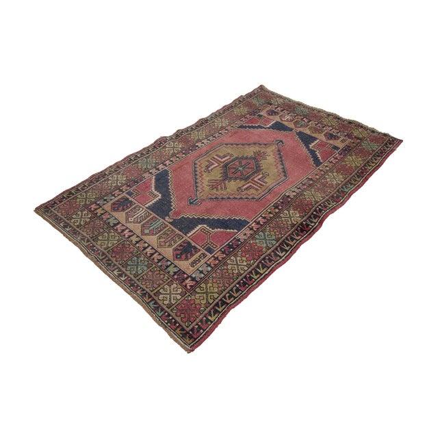 Vintage Decorative Turkish Area Rug- 3′8″ × 5′10″ For Sale - Image 4 of 7