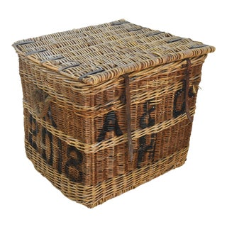 Large Stunning French Wicker & Wood Travel Trunk Chest With Lid For Sale