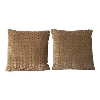 Custom Geometric Velvet Feather Down Pillows - A Pair For Sale