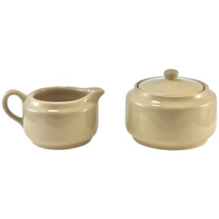 Bisque Cafe Ware Cream & Sugar For Sale