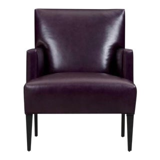 Crate & Barrel Notting Hill Amethyst Tux Leather Arm Chair For Sale