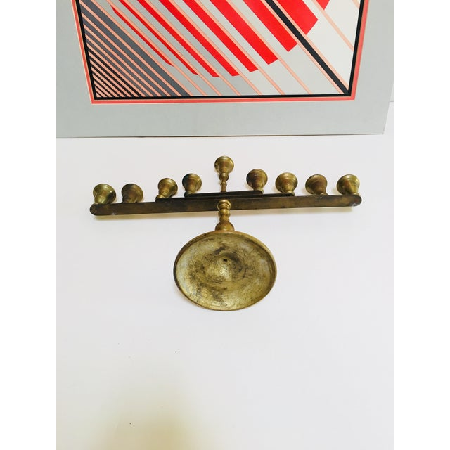 Mid 20th Century Mid-Century Vintage Articulating Brass Menorah For Sale - Image 5 of 10