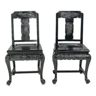 Vintage Mid-Century George Zee Chinese Hall Chairs- A Pair For Sale
