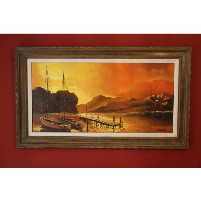 1970s Vintage Julio Carballosa Original Oil on Canvas Landscape Painting For Sale - Image 11 of 11