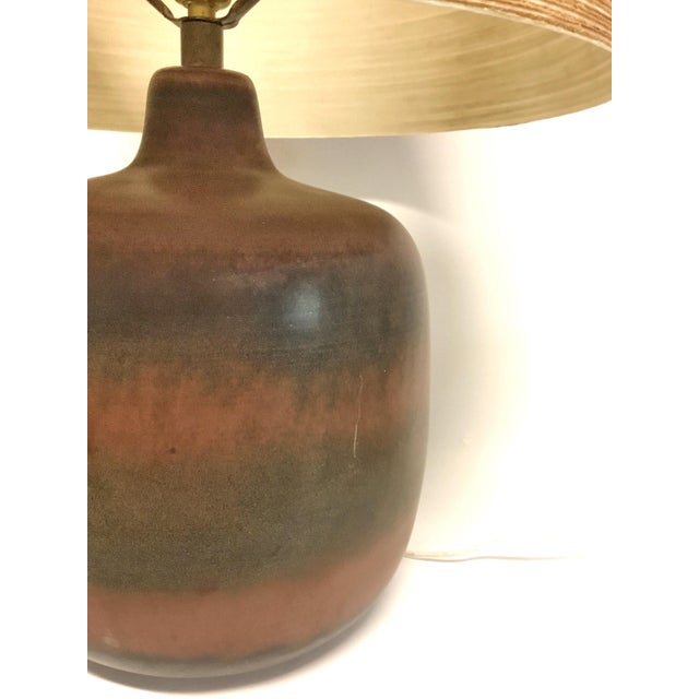 Lotte and Gunnar Bostlund Lotte & Gunnar Bostlund Ceramic Lamp With Original Shade For Sale - Image 4 of 8