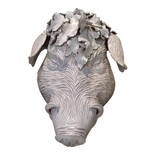 1950s Victorian Rare Boar's Head Pottery With Antique Horsehair Collar Centerpiece/Objet D'art For Sale